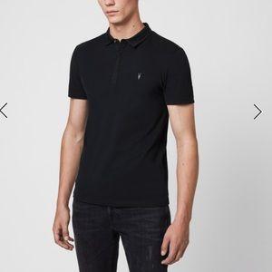 All Saints Black Polo Shirt Size L